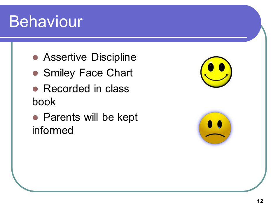 Behaviour Assertive Discipline Smiley Face Chart