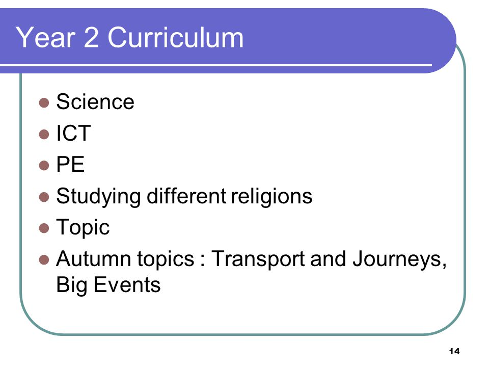 Year 2 Curriculum Science ICT PE Studying different religions Topic