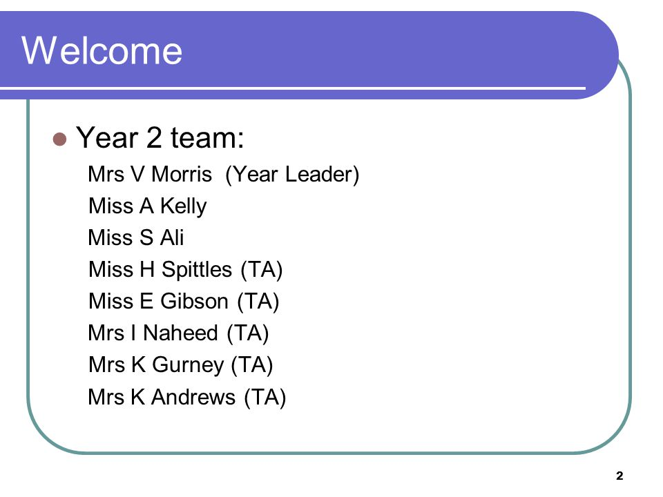 Welcome Year 2 team: Mrs V Morris (Year Leader) Miss A Kelly