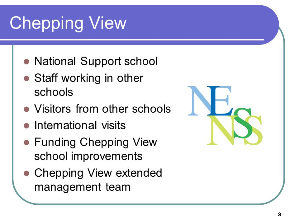 Chepping View National Support school Staff working in other schools