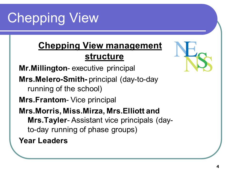 Chepping View management structure