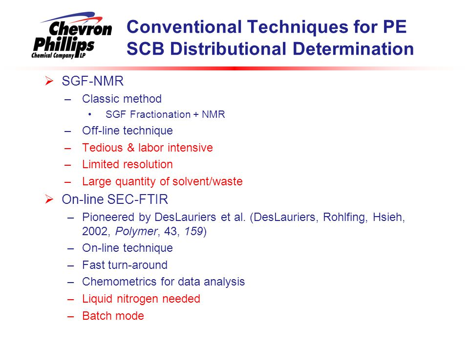 Conventional Techniques for PE SCB Distributional Determination