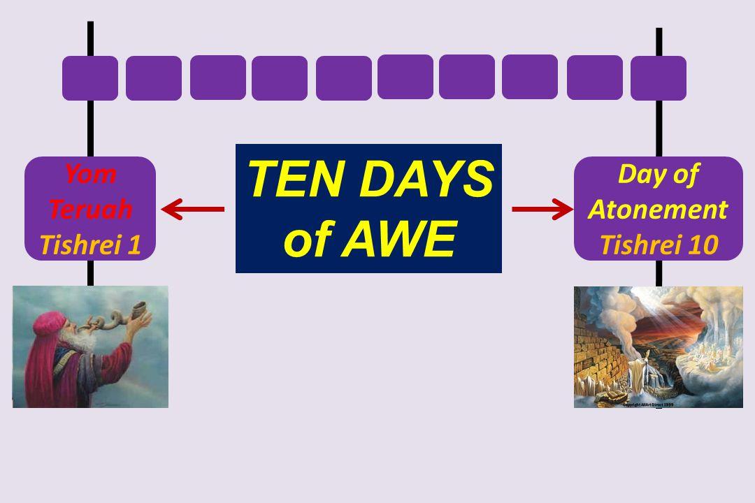 TEN DAYS of AWE Yom Teruah Tishrei 1 Day of Atonement Tishrei 10