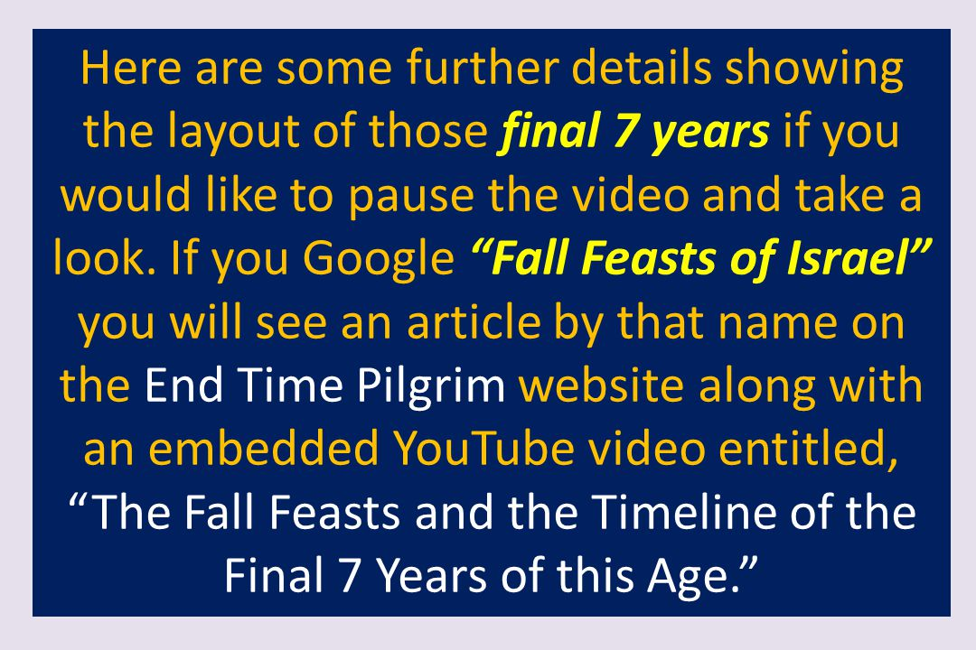Here are some further details showing the layout of those final 7 years if you would like to pause the video and take a look.