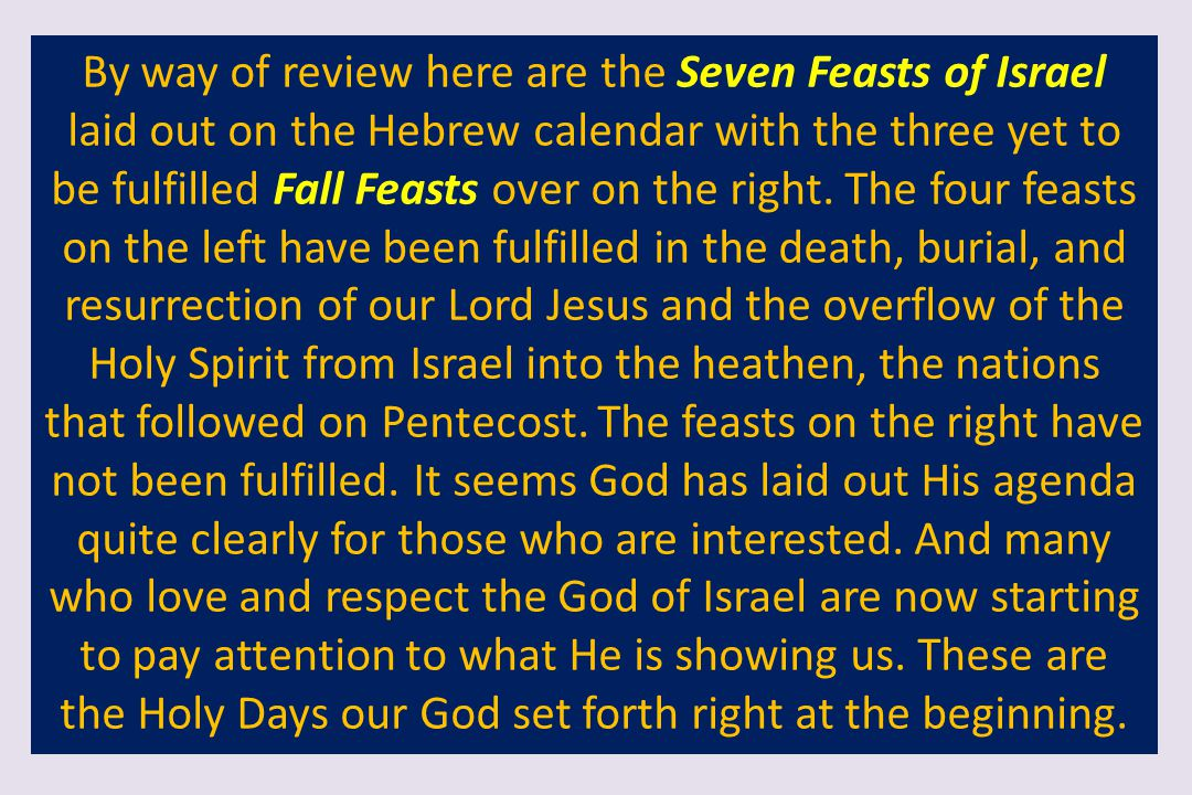 By way of review here are the Seven Feasts of Israel laid out on the Hebrew calendar with the three yet to be fulfilled Fall Feasts over on the right.