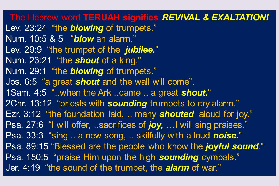The Hebrew word TERUAH signifies REVIVAL & EXALTATION!