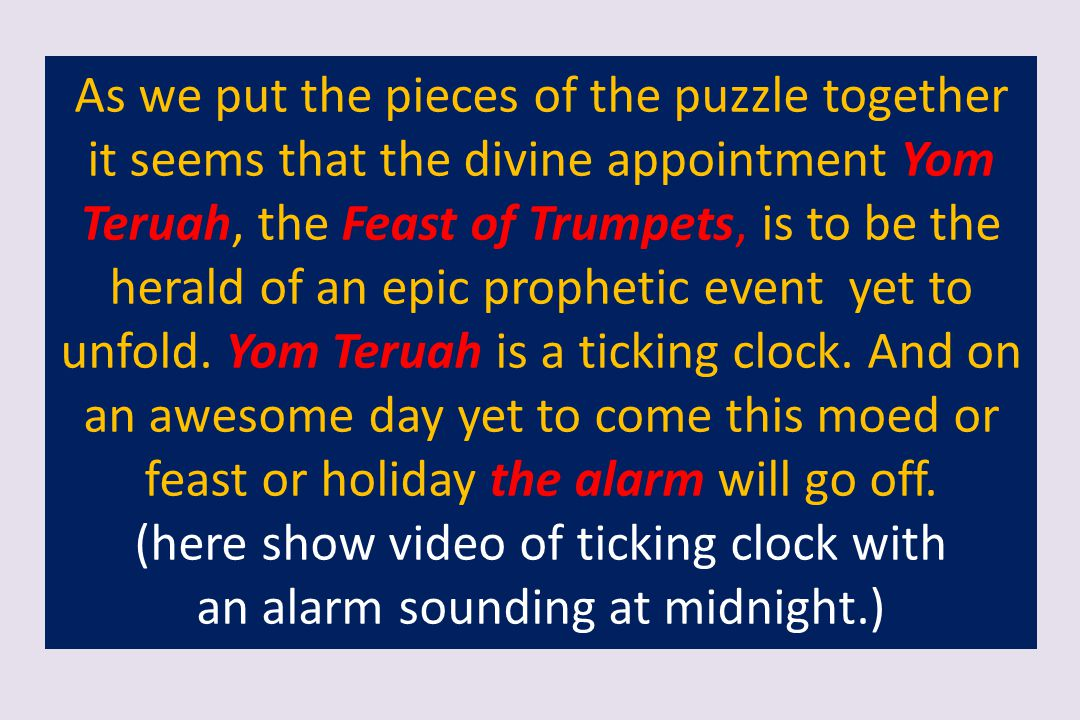 (here show video of ticking clock with an alarm sounding at midnight.)