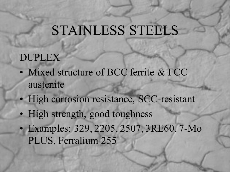 STAINLESS STEELS DUPLEX Mixed structure of BCC ferrite & FCC austenite