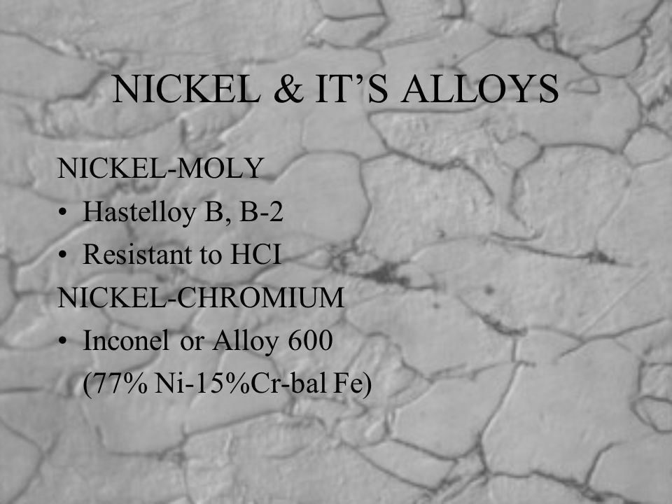 NICKEL & IT'S ALLOYS NICKEL-MOLY Hastelloy B, B-2 Resistant to HCI