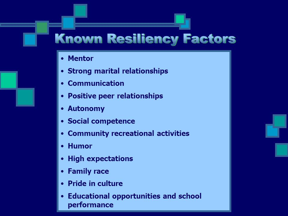 Known Resiliency Factors