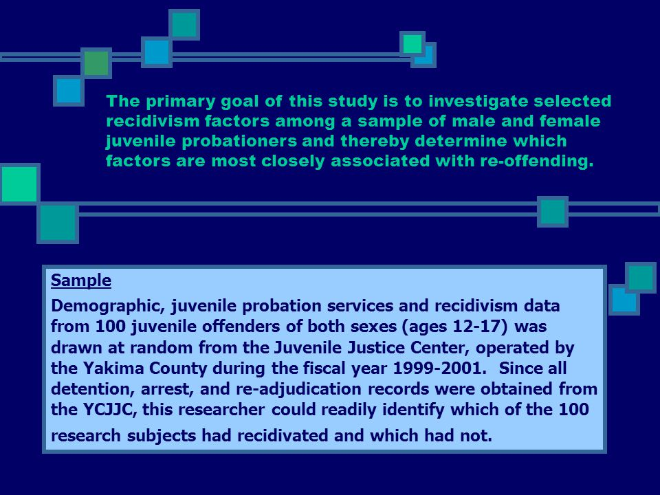 The primary goal of this study is to investigate selected recidivism factors among a sample of male and female