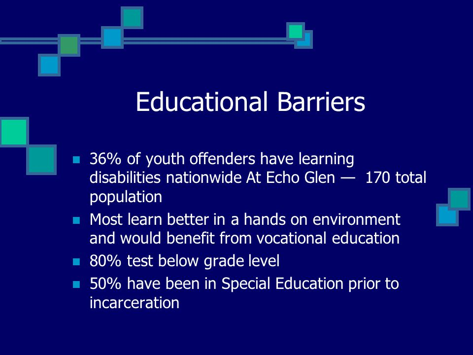 Educational Barriers 36% of youth offenders have learning disabilities nationwide At Echo Glen — 170 total population.