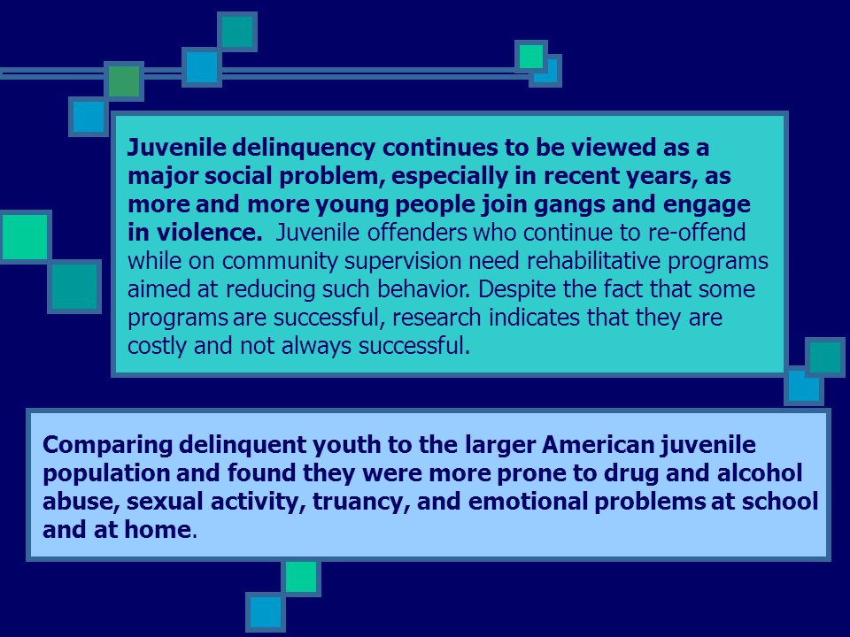 Juvenile delinquency continues to be viewed as a major social problem, especially in recent years, as more and more young people join gangs and engage in violence. Juvenile offenders who continue to re-offend while on community supervision need rehabilitative programs aimed at reducing such behavior. Despite the fact that some programs are successful, research indicates that they are costly and not always successful.