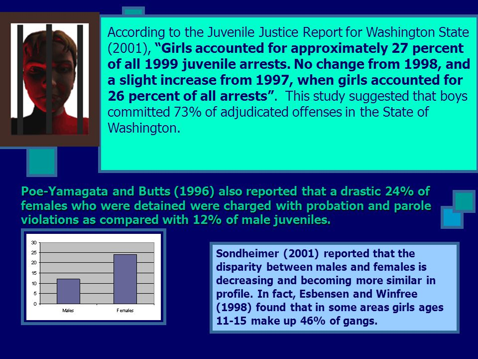 According to the Juvenile Justice Report for Washington State (2001), Girls accounted for approximately 27 percent of all 1999 juvenile arrests. No change from 1998, and a slight increase from 1997, when girls accounted for 26 percent of all arrests . This study suggested that boys committed 73% of adjudicated offenses in the State of Washington.