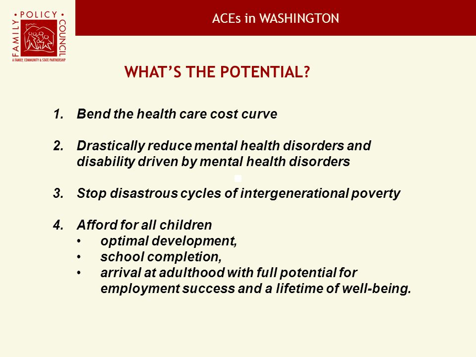 What's the potential ACEs in WASHINGTON