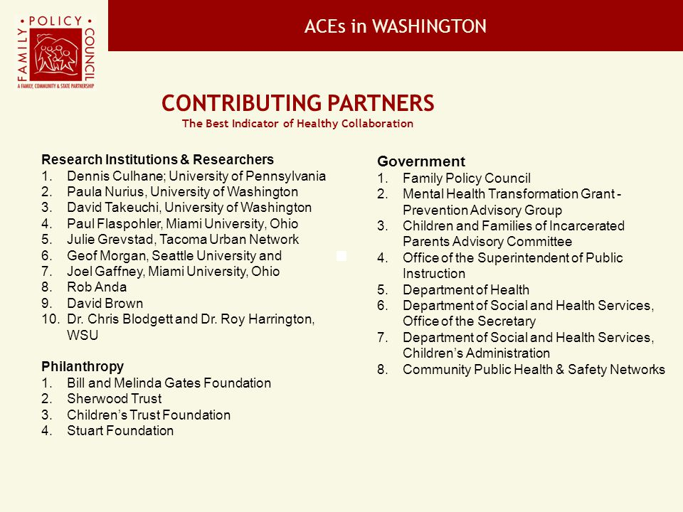 Contributing Partners The Best Indicator of Healthy Collaboration