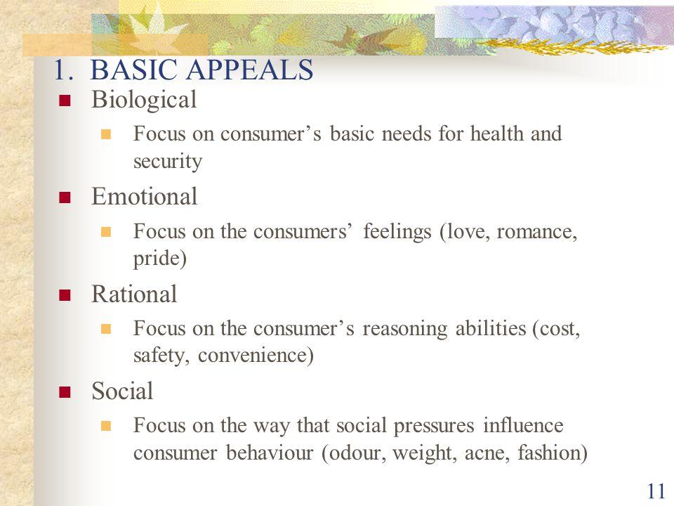 1. BASIC APPEALS Biological Emotional Rational Social