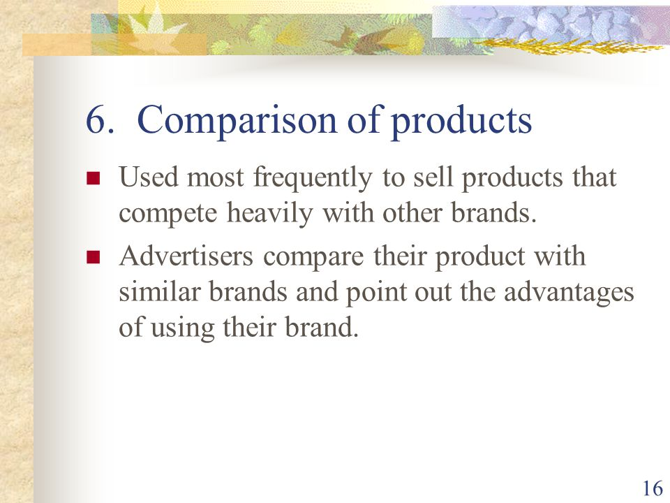 6. Comparison of products
