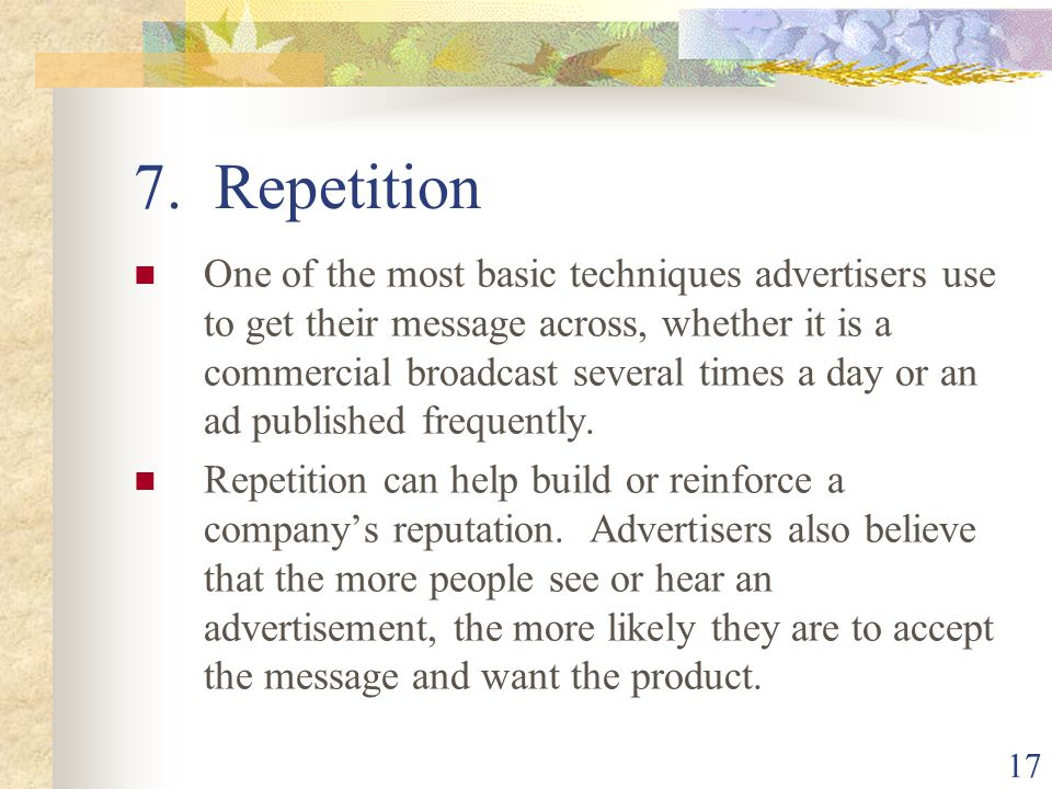 7. Repetition