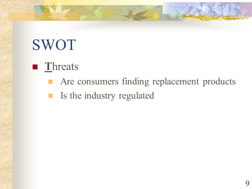 SWOT Threats Are consumers finding replacement products