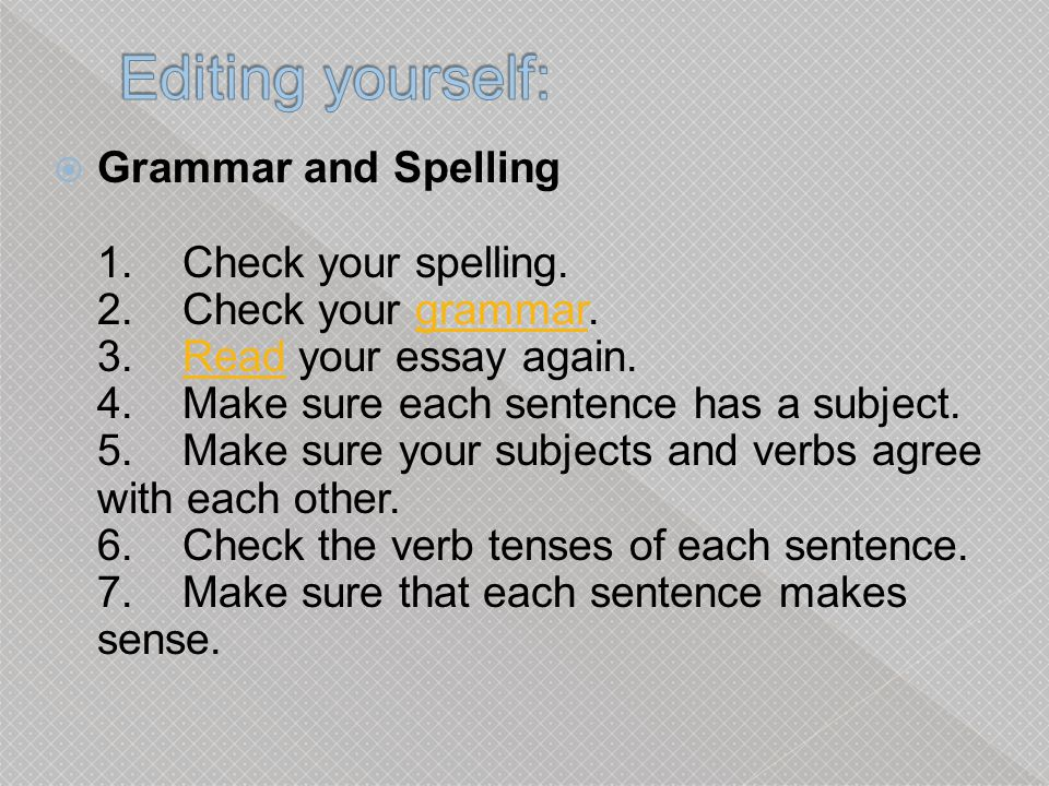 Editing yourself:
