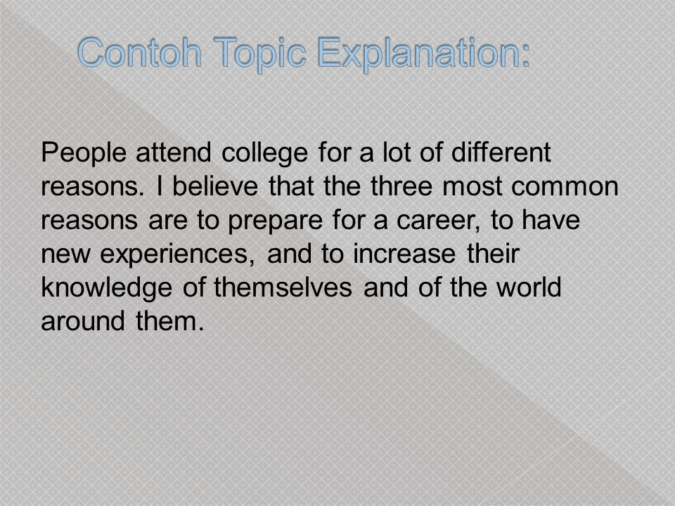 Contoh Topic Explanation: