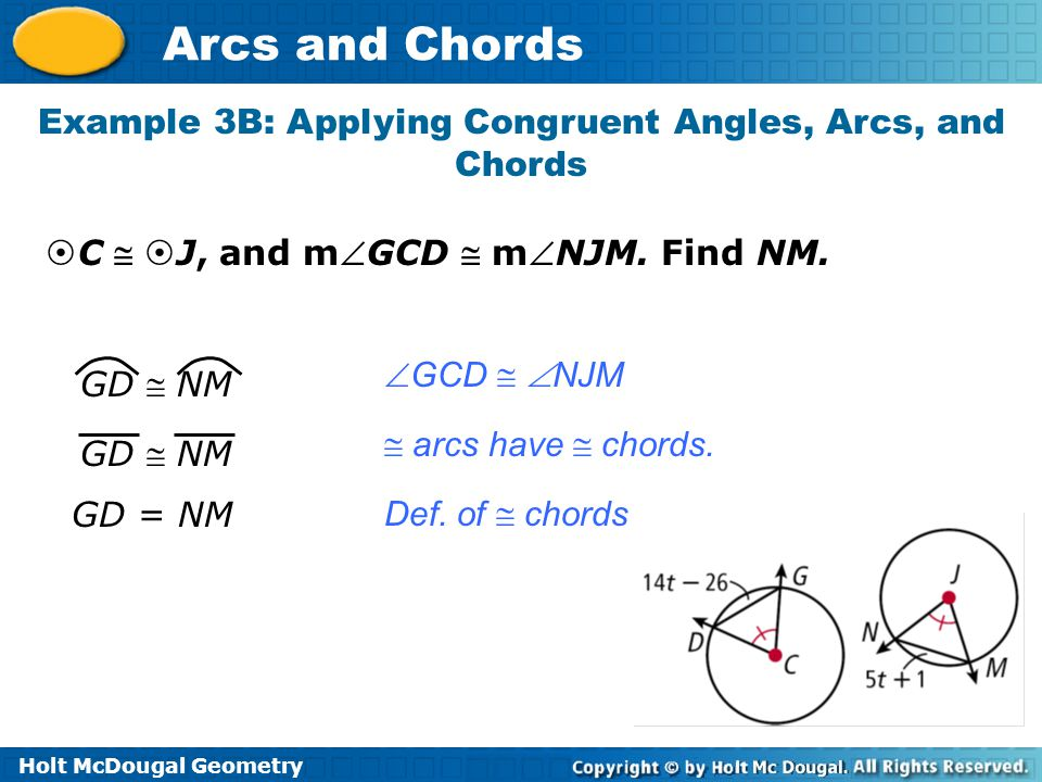 Example 3B: Applying Congruent Angles, Arcs, and Chords