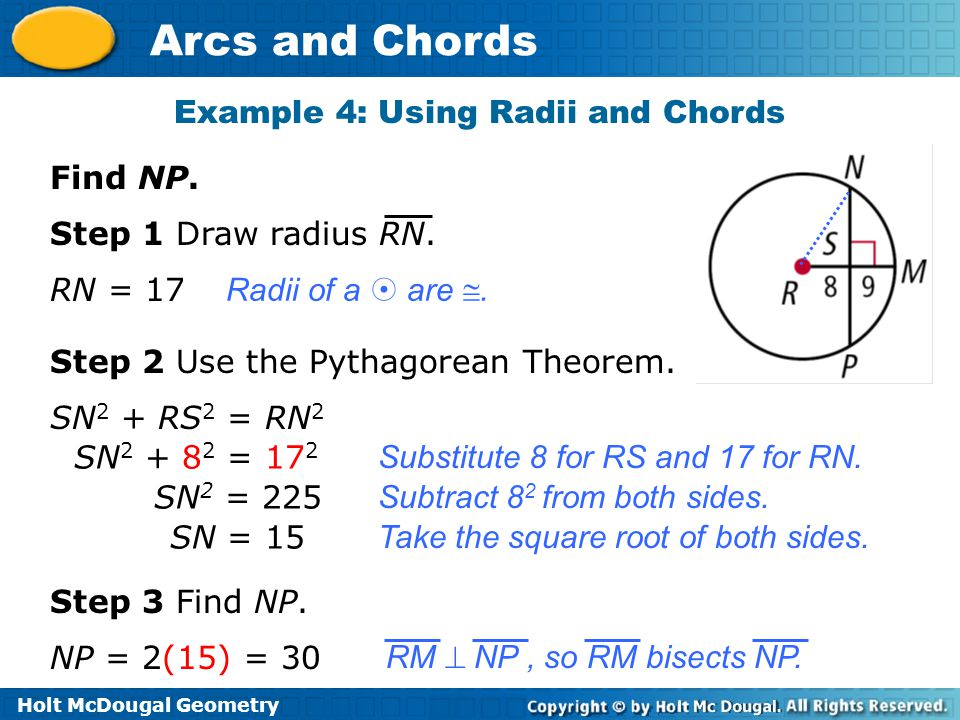 Example 4: Using Radii and Chords