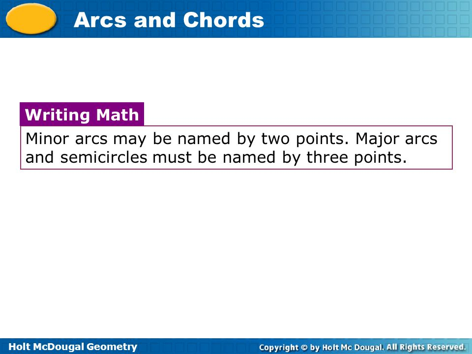 Writing Math Minor arcs may be named by two points.