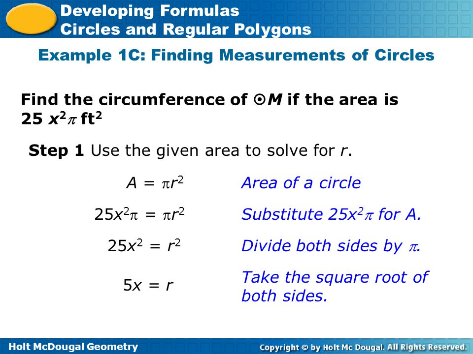 Example 1C: Finding Measurements of Circles