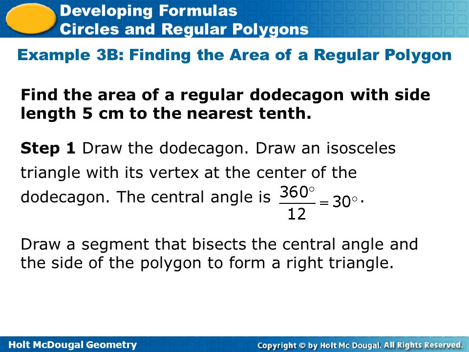 Example 3B: Finding the Area of a Regular Polygon