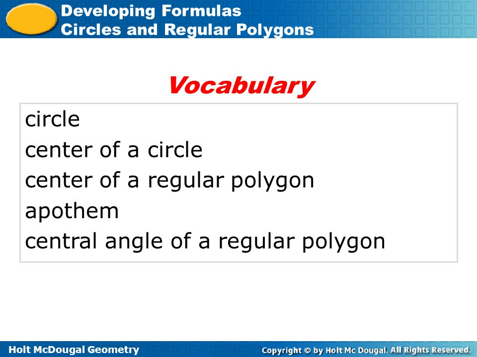 Vocabulary circle center of a circle center of a regular polygon