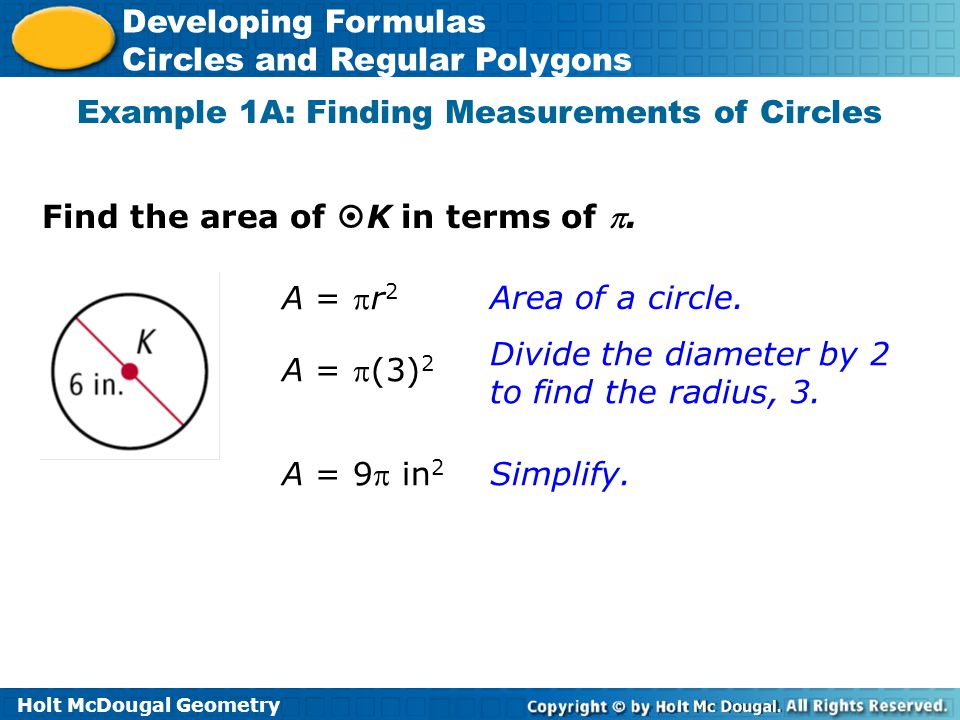 Example 1A: Finding Measurements of Circles