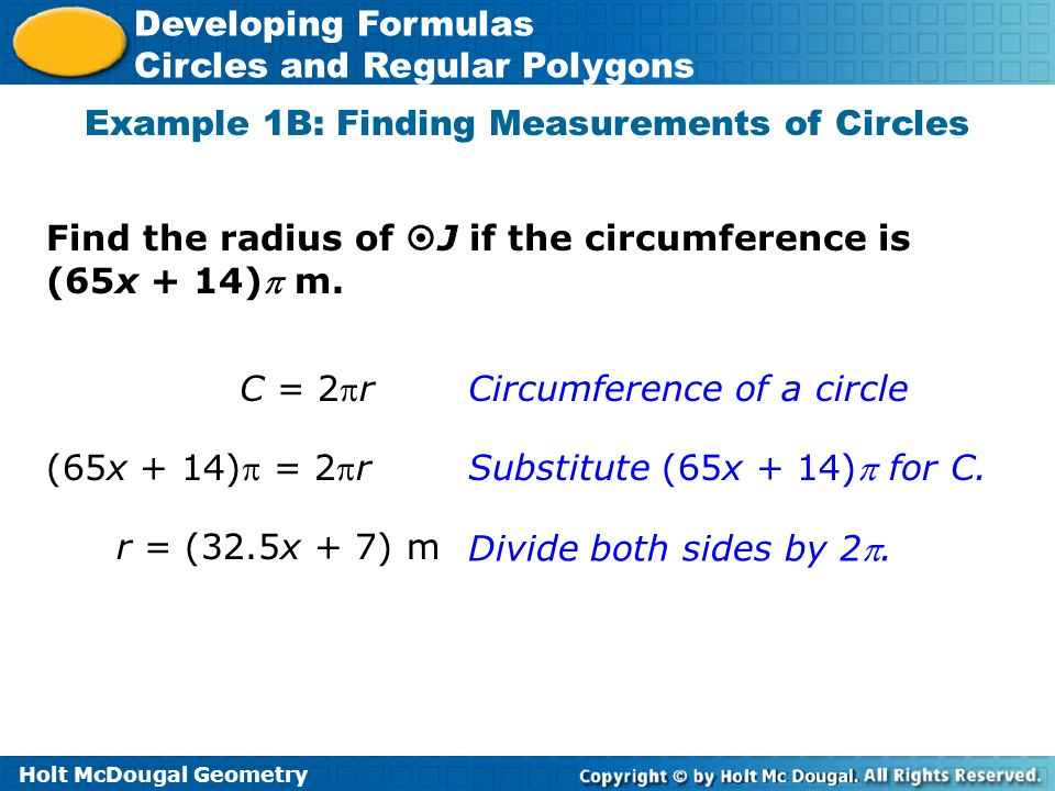 Example 1B: Finding Measurements of Circles