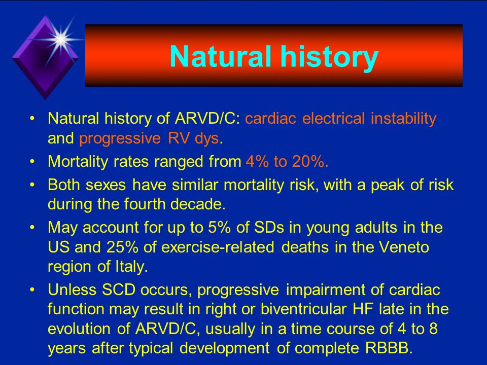Natural history Natural history of ARVD/C: cardiac electrical instability and progressive RV dys. Mortality rates ranged from 4% to 20%.