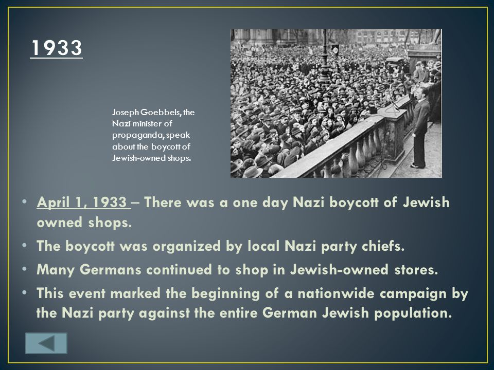 1933 Joseph Goebbels, the Nazi minister of propaganda, speak about the boycott of Jewish-owned shops.