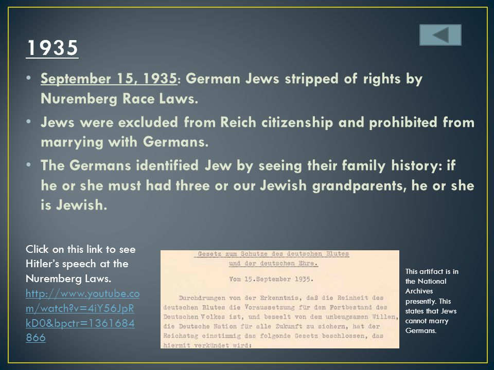 1935 September 15, 1935: German Jews stripped of rights by Nuremberg Race Laws.
