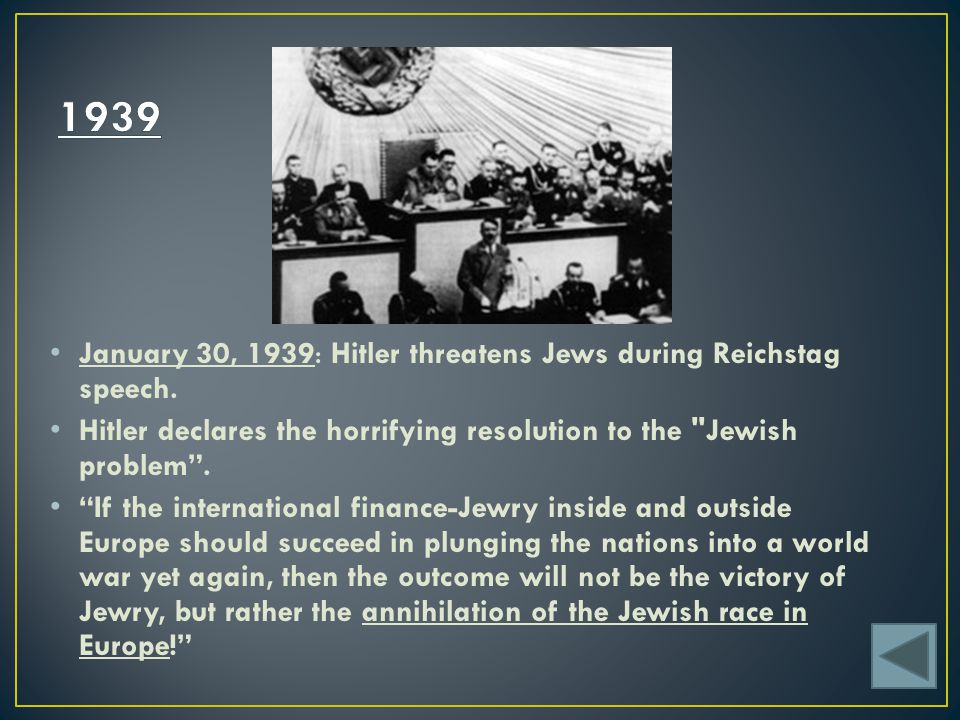 1939 January 30, 1939: Hitler threatens Jews during Reichstag speech.
