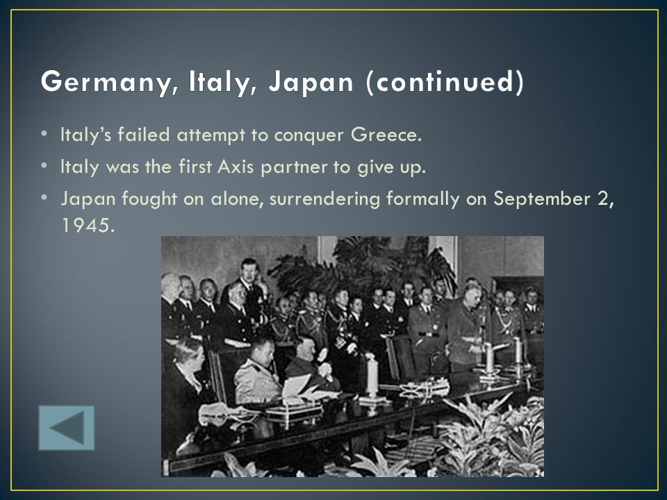 Germany, Italy, Japan (continued)