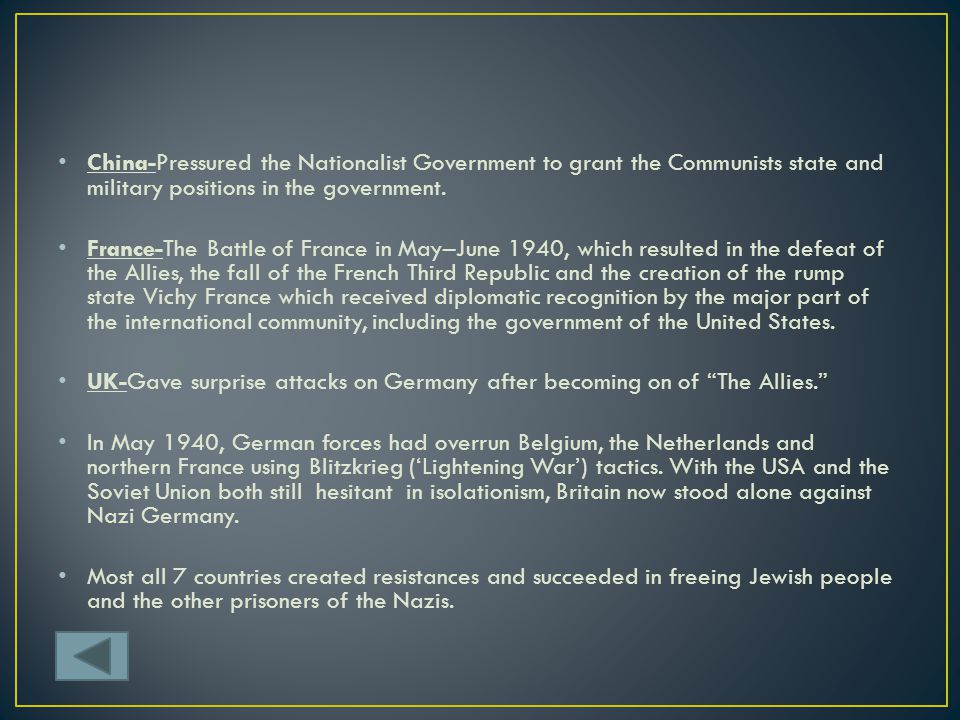 China-Pressured the Nationalist Government to grant the Communists state and military positions in the government.