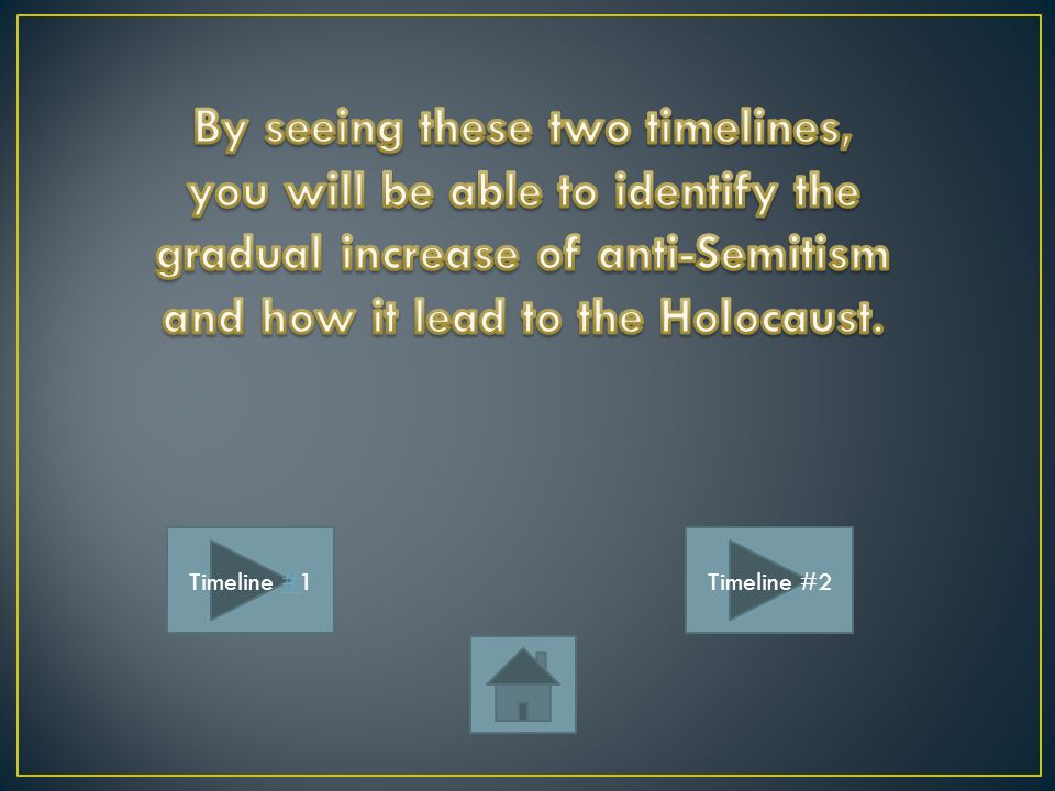 By seeing these two timelines, you will be able to identify the gradual increase of anti-Semitism and how it lead to the Holocaust.