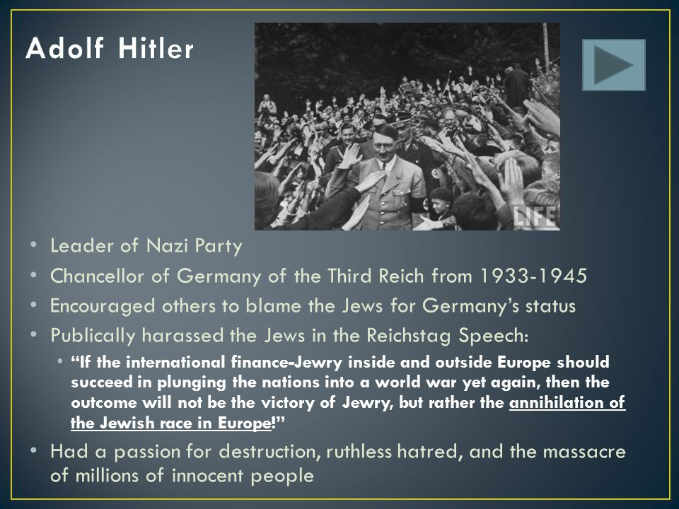 Adolf Hitler Leader of Nazi Party
