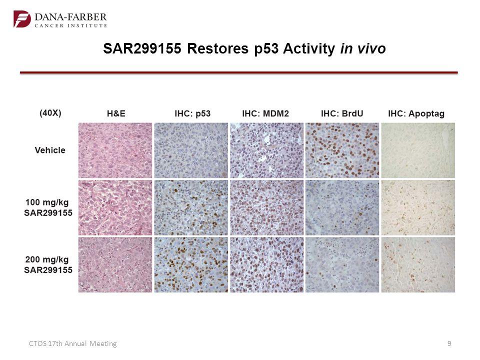 SAR299155 Restores p53 Activity in vivo
