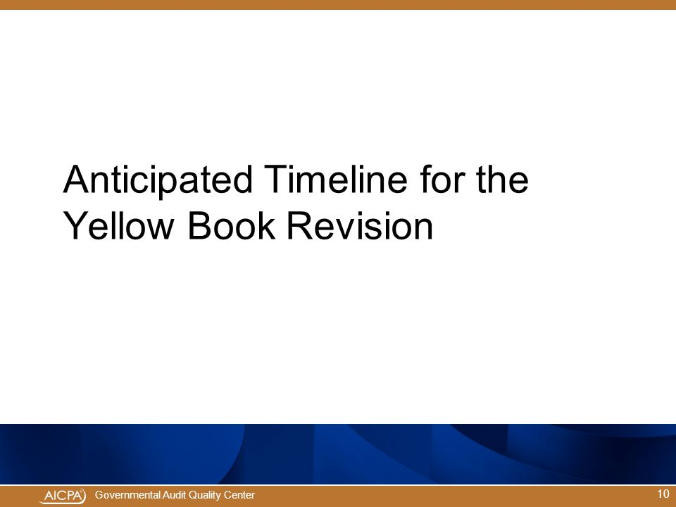 Anticipated Timeline for the Yellow Book Revision