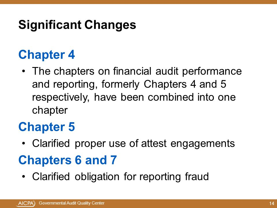 Significant Changes Chapter 4 Chapter 5 Chapters 6 and 7