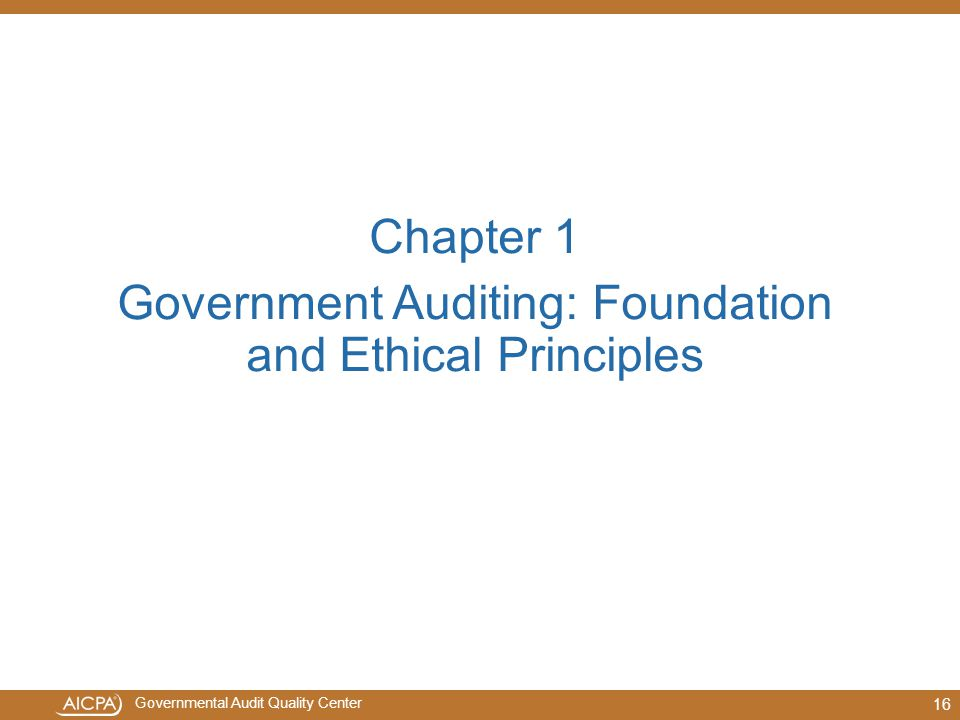 Government Auditing: Foundation and Ethical Principles