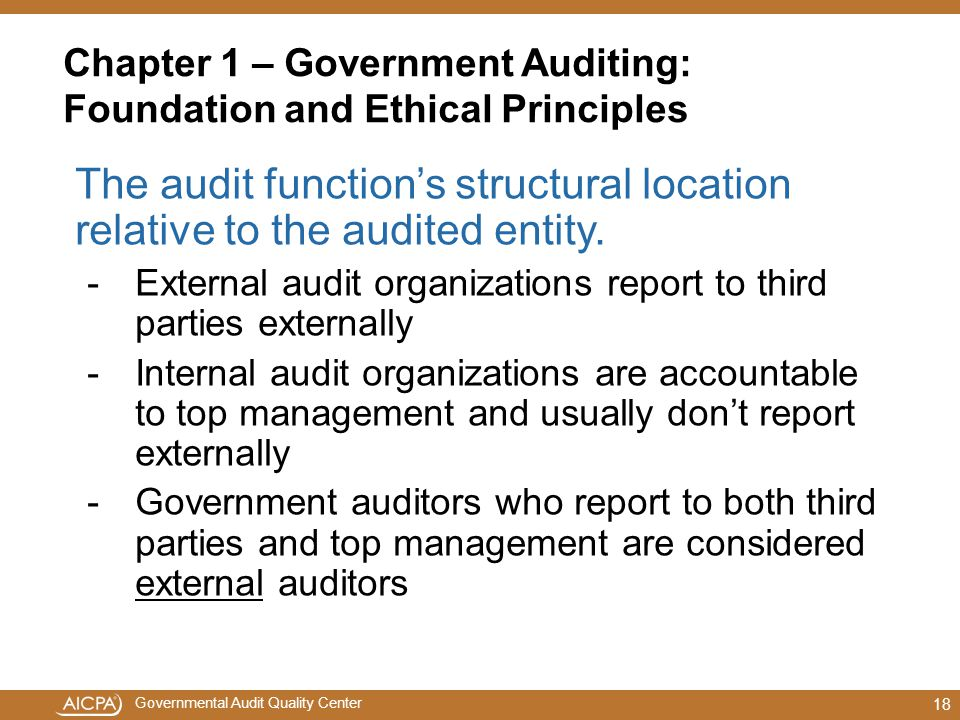 Chapter 1 – Government Auditing: Foundation and Ethical Principles