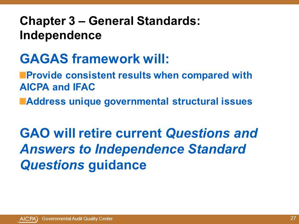 Chapter 3 – General Standards: Independence