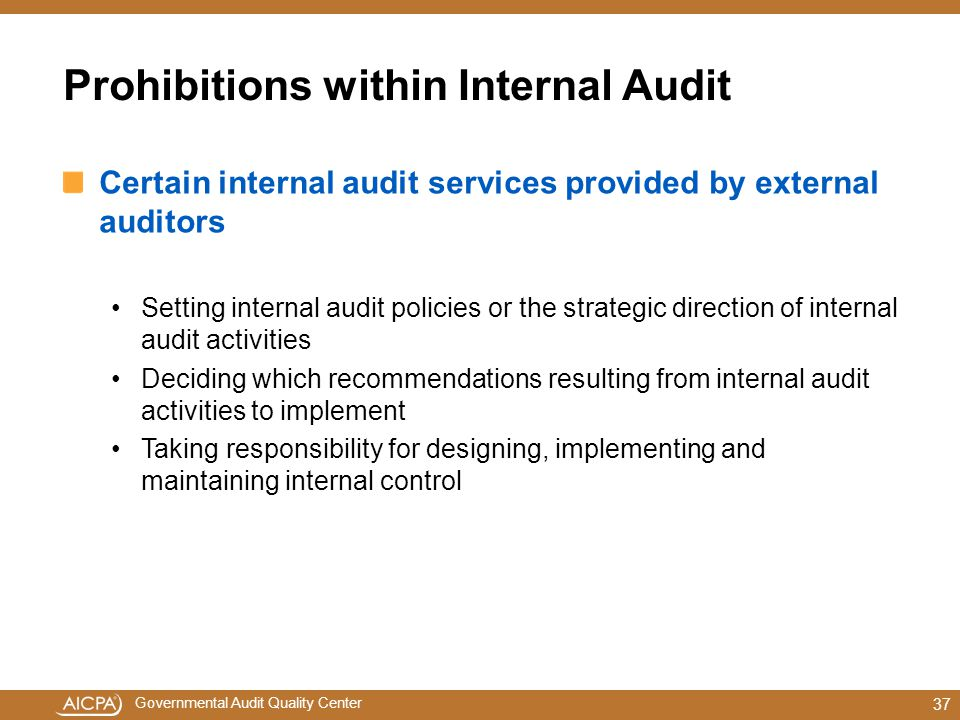 Prohibitions within Internal Audit