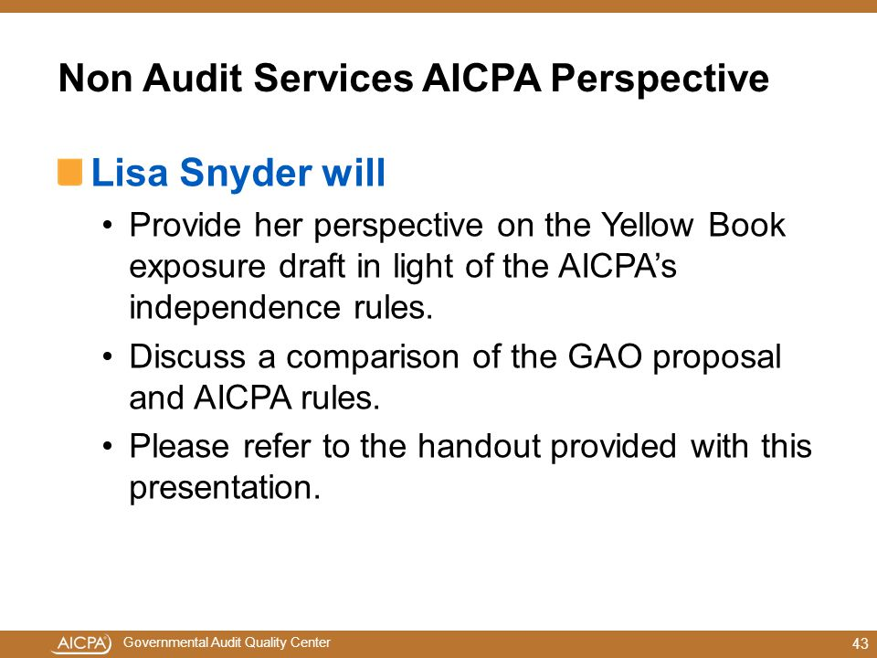 Non Audit Services AICPA Perspective